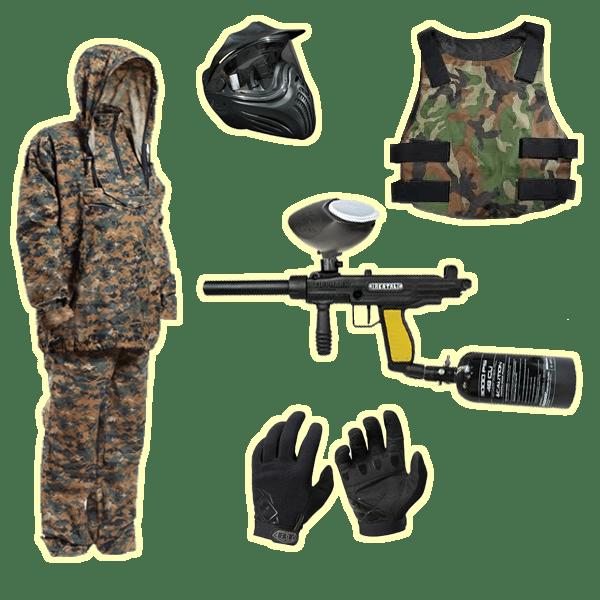 Комплект для игры в Пейнтбол: Костюм (размеры 38-62), маркер, маска, защитный жилет (для девушек и детей), перчатки