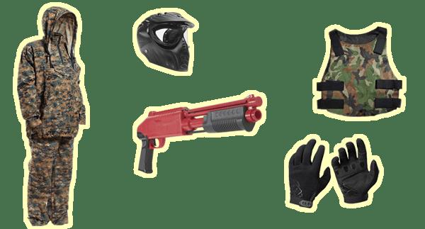 Комплект для игры в детский Пейнтбол: Костюм (детский размер), маркер JT Splatmaster (для детей 6-12 лет), маска, защитный жилет, перчатки